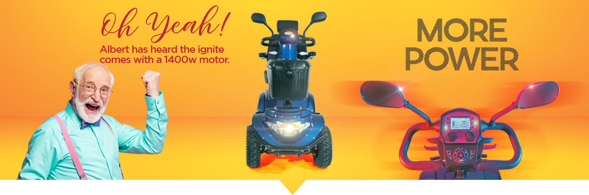 """The """"Ignite"""" mobility scooter provides the user with more power. Including a 1400w motor."""