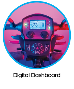 """Features of the """"Ignite"""" mobility scooter include a digital dashboard."""