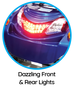 """Features of the """"Ignite"""" mobility scooter include dazzling front and rear lights."""